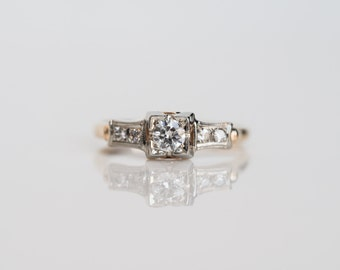 Circa 1940 - Two Tone 14K Yellow Gold .20ct Old European Cut Diamond Engagement Ring - JKV-VEG#440