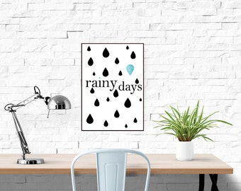 Rain Print, Pluviophile Print, Rainy Days Poster Pluviophile Typography Print Rain Print, Rain Lover, Black and White Room Decor Print