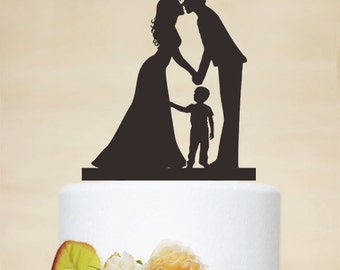 Wedding Cake Topper,Couple Silhouette with a litter boy,Custom Children Cake Topper,Cake Decoration,Personalized Family Cake Topper P155