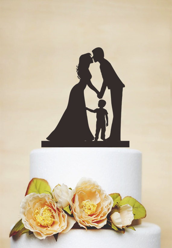 wedding cake toppers couples wedding cake toppercouple silhouette with a litter boycustom 26440