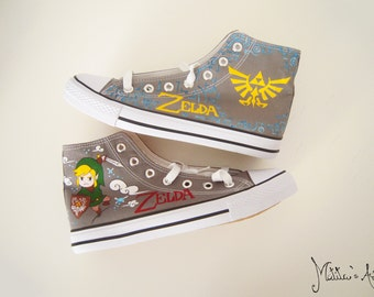 Zelda hand painted shoes / Videogame shoes / Link Shoes