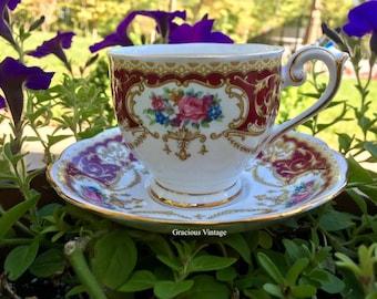 Vintage Queen Anne Regency Teacup & Saucer - Free Shipping