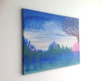 Nature Painting, Pastel Landscape Painting, Water Scene, Pine Tree Painting, Water Painting, Nature Art, Wall Art, Wall Painting, Pine Trees