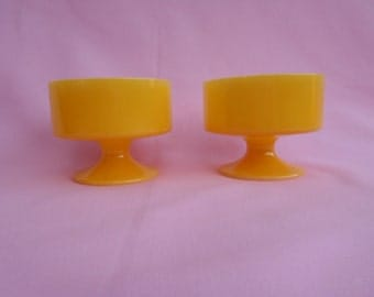 Vintage Federal Glass Dessert Cups Footed Bowl Yellow Set of Two 1970's  #10143