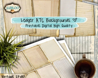 OFFICE Ledger aceo background  bookmaking pages stationery crafting ephemera scrapbook digital collage - instant download printable - pp296
