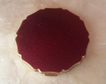 Vintage Stratton Princess Compact Mirror Deep Red Enamel