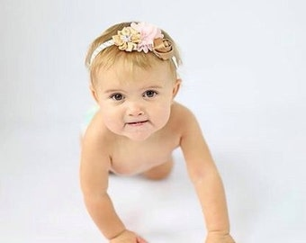 Pink gold first birthday headband, pink gold newborn headband, pink gold birthday, pink baby headband