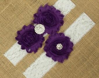 Purple Garter, Purple Wedding Garter, Purple Garter Belt, Purple Bridal Garter, Wedding Garter, Bridal Garter, Toss Garter, Garter, SCWS-P02