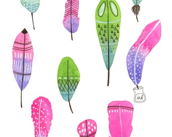 Colorful Feathers Illustration Giclee Print