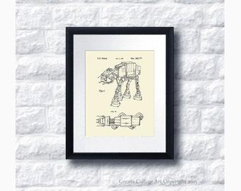 AT-AT Imperial Walker Star Wars Patent Art Print Star Wars Sci-Fi Movie, Star Wars Home Decor Star Wars Print #9