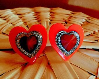 Heart to Heart Clip Earrings