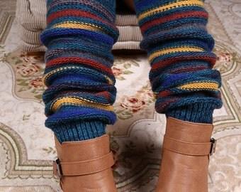 Seashore Striped Leg Warmers - Stretchy - Boot Warmers - Knee High
