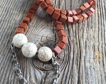 Copper Goldstone Squares necklace