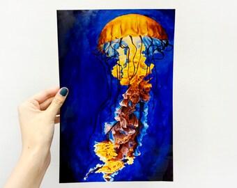 Digital Giclee Art Print / Colorful Glowing Jellyfish / 8 x 12 11 x 14 16 x 20 Acrylic Painting / Wall Art Decor