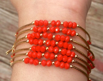 Red Orange Solid Beaded Charm Bracelet Set with Silver Charms - Semanario pulseras de piedritas naranja rojas con dijes de plata