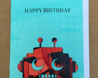 Hand-painted Robot Greeting Card
