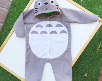Totoro baby hoodie onesie MADE TO ORDER , baby clothes , baby costume , baby jacket , baby hoodie
