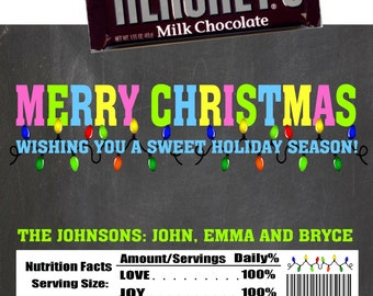 Printable Christmas Candy Bar Wrappers 1.55 oz. Hershey's Milk Chocolate Cookies and Cream Nestle Crunch