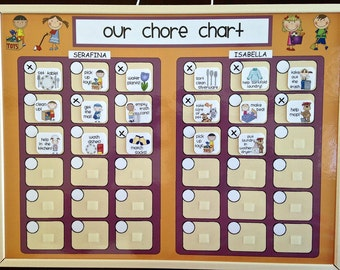 Family Chore Chart, Multiple Child Responsibility Chart, Kids Chore Chart, Children (Velcro) -- Regular or Personalized