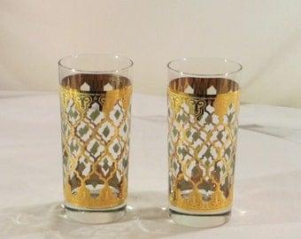 Moorish Valencia Culver Highball Hand Painted 2 Glassess With 22 Karat Gold Design
