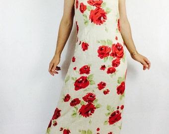 Vintage red floral dress 90s long dress vintage floral dress white maxi dress floral maxi dress long white dress long floral dress size m