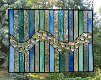 Ocean Blue stained glass panel