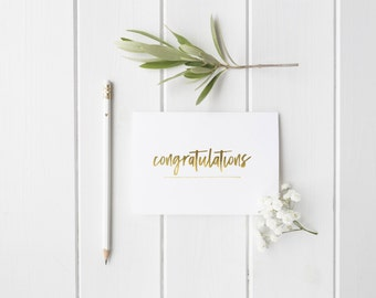 Gold Foil 'Congratulations Greeting Card