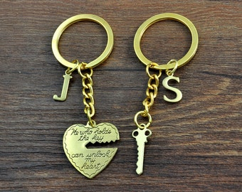 Key to My Heart Keychains, Keychain Set, His and Her Key Chains, Couple Gift, Boyfriend Girlfriend, He Who Holds the Key Can Unlock My Heart