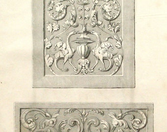 Wood carving, ornaments, paneling 1875 double sided interior design print - Victorian decor - 141 years old antique illustration (B640)