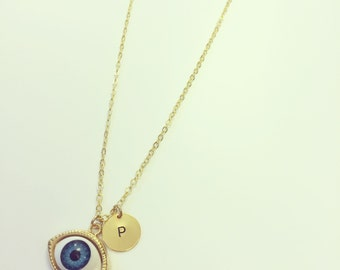 Gold Plated Eye Necklace - Optional Extra Personalised Initial Disc