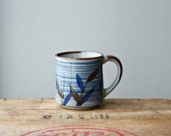 Vintage Speckled Stoneware Brown and Blue Mug