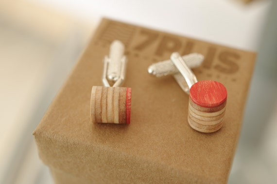 cuff links recycled skateboards handmade red wood
