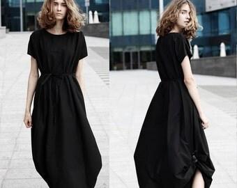 Asymmetrical loose fitting dress/ Black maxi dress/ avant garde wedding dress