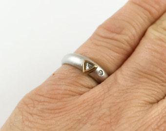 Small Sterling Silver Pinky Ring with Diamond and Cut Glass Accents