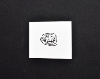 Troll Face Meme Rubber Stamp, Hand carved Stamp