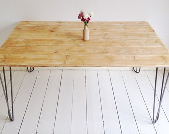 Rustic Industrial Hairpin Leg Dining Table - Natural