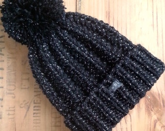 Black and Silver SPARKLY Bobble Hat. Womens handmade sparkle pom pom hat. Chunky hand knit glitter beanie with large detachable pom pom