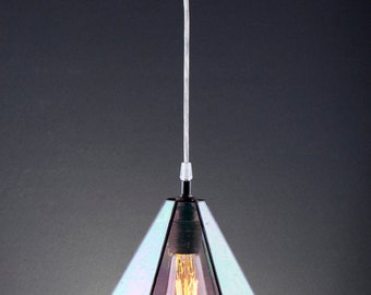 Industrial rainbow glass terrarium lamp. Clear glass simple lamp. Edison bulb lamp. Modern lighting. Stained glass simple lamp.
