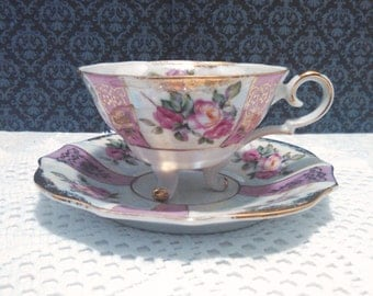 Vintage Lipper & Mann Royal Halsey Lustreware Teacup and Saucer - 3 Footed - Pink Roses and Gold - Circa 1950s