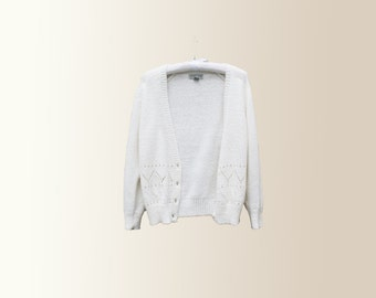 Vintage 90s White Ivory Chunky Knit Button Front Cardigan Sweater Size Small by Crystal Kobe