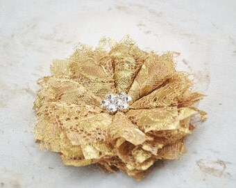 Gold Wedding Hair Piece Bridal Hair Flower Clip Romantic Wedding Hair Clip Bridal Hairpiece Gold Lace Flower Hair Clip Bridal Hair Accessory