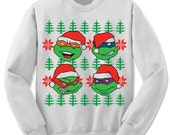 Ugly Christmas Sweater TMNT Sweatshirt. Unisex/Adult Fleece Sweatshirt. Tmnt Christmas Sweater.
