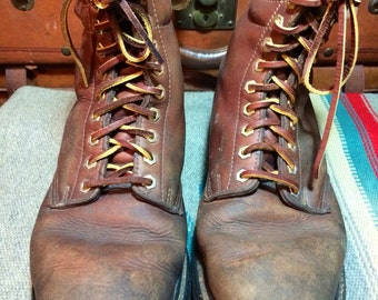 Vintage Land Rover Insulated Brown Leather Logger Work Boots 8.5M--Made in Korea
