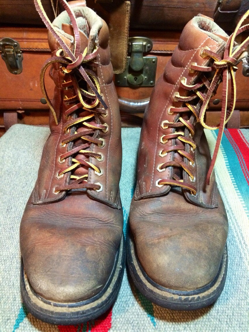vintage land rover insulated brown leather logger work boots. Black Bedroom Furniture Sets. Home Design Ideas