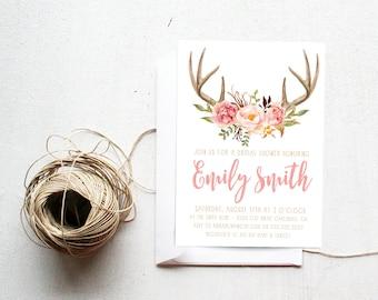 Baby Shower Invitation Girl, Antler, Pink, Flower, Woodland Invite (591)