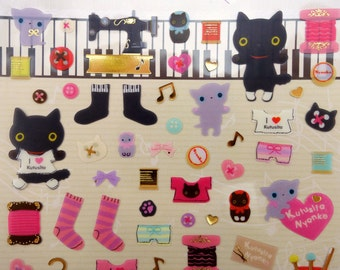 Japanese Kutusita Nyanko clothing & sewing supplies stickers by San-X! Bon Chan and friends - buttons - thread - socks - fashion supply cats