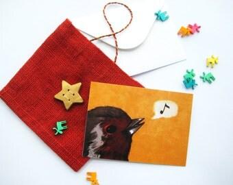 Singing Robin Christmas card