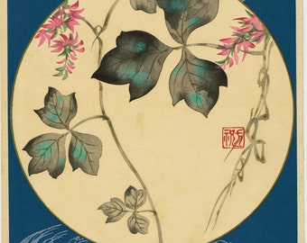"1931, Japanese antique woodblock print, Ogata Korin, ""Album of Hundred Flowers by Artists of Rinpa School,  Kudzu"""