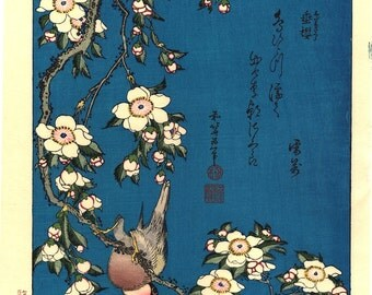 "Japanese Ukiyo-e Woodblock print, Katsushika Hokusai, ""A Bullfinch and A Dropping Cherry Tree"""