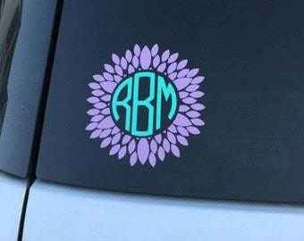 Flower Monogram Decal | Sunflower Monogram Decal | Vine Monogram | Circle Monogram | Laptop Monogram | Car Decal